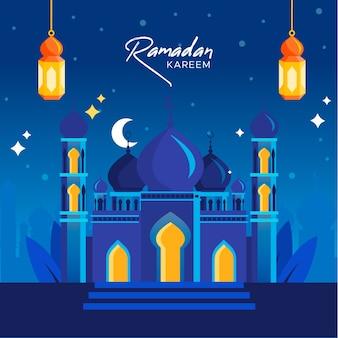 Concept de fond plat ramadan