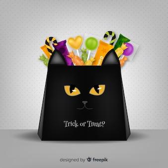 Concept de fond de sac de bonbons d'halloween