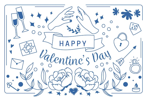 Concept de fond de saint valentin dessiné à la main