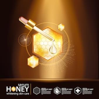 Concept de fond de sérum de miel cosmétique de soins de la peau