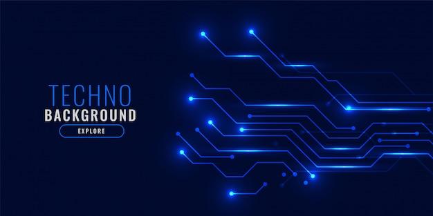 Concept de fond de technologie bleu brillant