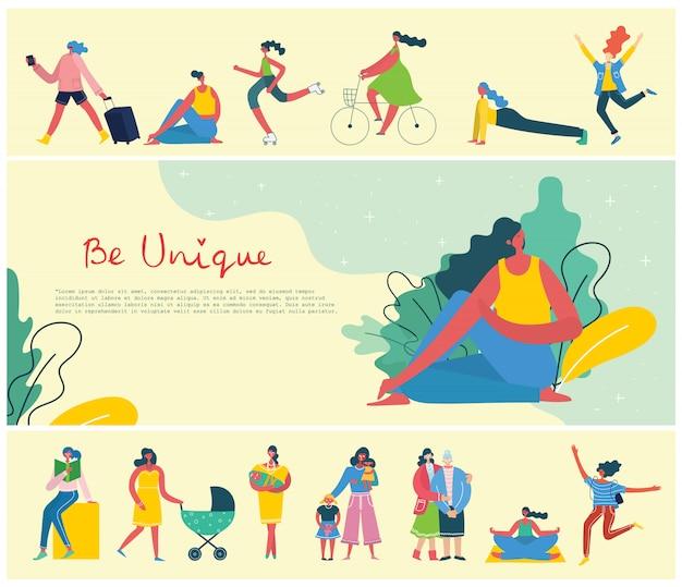 Concept de fond unique de femmes. carte d & # 39; illustration avec femme heureuse et citation de dessin à la main soyez unique