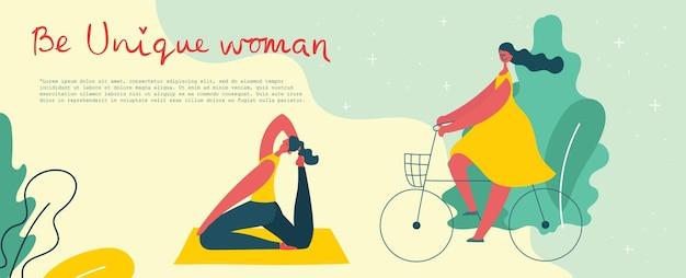 Concept de fond unique de femmes. carte d'illustration vectorielle moderne et élégante avec une femme heureuse et une citation de dessin à la main soyez unique