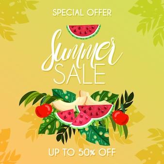 Concept de fond de vente d'été