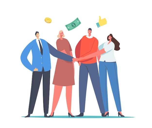 Concept de fonds communs de placement. collègues de bureau les personnages masculins et féminins se joignent à la main avec des pièces d'argent et des billets autour. aide financière composée d'hommes d'affaires et de femmes d'affaires. illustration vectorielle de gens de dessin animé