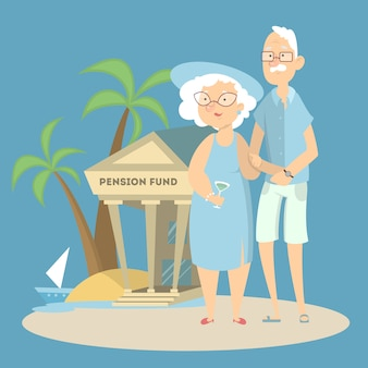 Concept de fonds de pension. grands-parents avec banque en vacances.