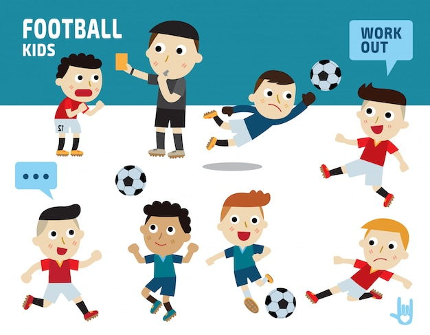 Concept de football de sport. enfants divers de costumes et de poses d'action.