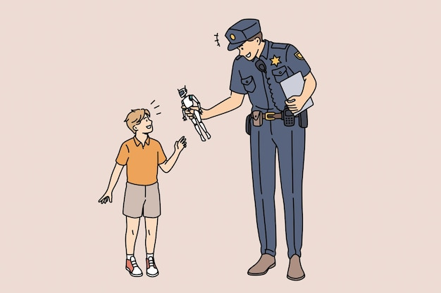 Concept de force d'éducation et de policier. jeune personnage de dessin animé de policier souriant debout donnant un robot jouet à un petit garçon heureux prenant soin de l'illustration vectorielle