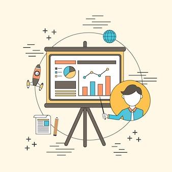 Concept de formation commerciale : un homme pointant sur un graphique analytique dans le style de ligne