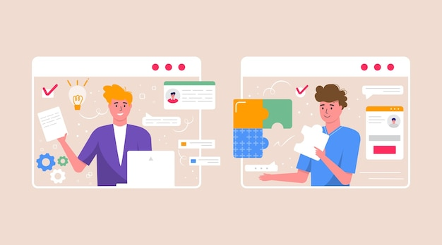 Concept de freelance, vidéoconférence, espace de travail de réunion en ligne. modèle de conception avec des gens d'affaires, des pigistes prenant avec un collègue pour un rapport, un dépliant, un marketing, un dépliant, un vecteur de style moderne