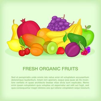 Concept de fruits bio, style cartoon