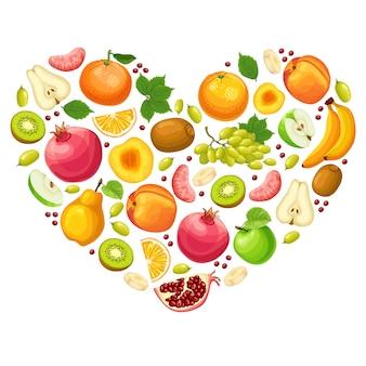 Concept de fruits naturels colorés