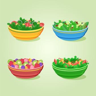 Concept de fruits et saladiers