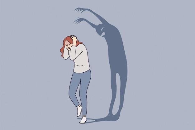 Concept de frustration de phobie d'attaque de panique de psychologie