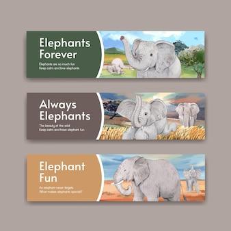 Concept funning éléphant, jeu de bannières de style aquarelle