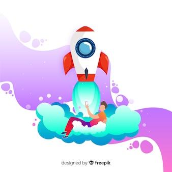 Concept de fusée de bâtiment