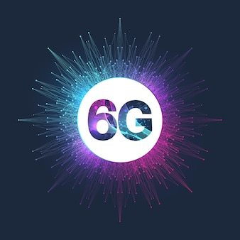 Concept des futurs systèmes sans fil du réseau 6g de technologie. le concept de réseau 6g, internet mobile haut débit, réseaux de nouvelle génération. bannière. illustration vectorielle.