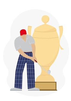 Le concept de gagner le jeu de golf. un homme avec un club de golf près de la grande coupe de la victoire