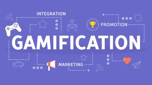 Concept de gamification. intégration des mécanismes de jeu dans le site web