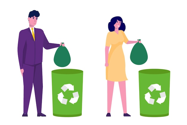 Concept de gaspillage. femme et homme trowing poubelle dans le bac sélectif de recyclage vert.