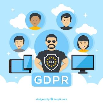 Concept de gdpr avec un design plat