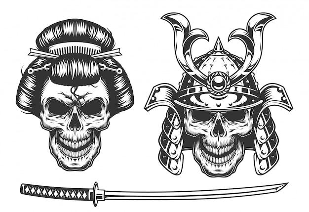 Concept de geisha et samouraï avec crâne