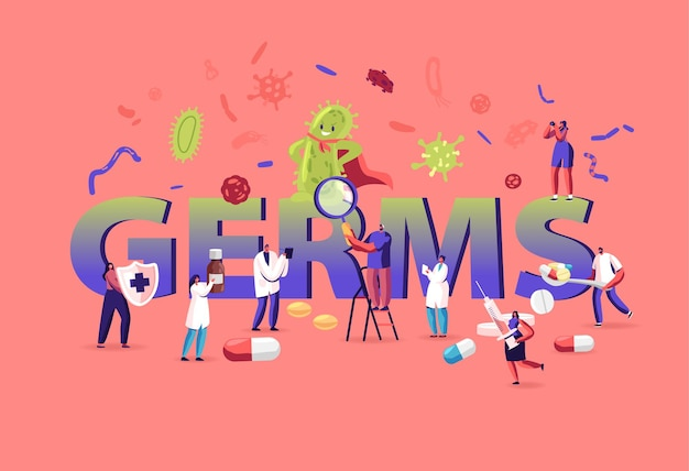 Concept de germes et de virus. illustration plate de dessin animé