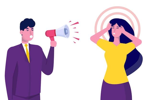 Concept de gestion agressive du chef criant au gestionnaire
