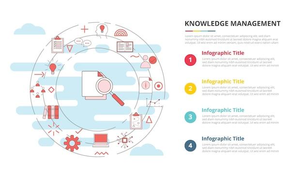 Concept de gestion des connaissances pour la bannière de modèle d'infographie avec illustration vectorielle d'informations de liste à quatre points
