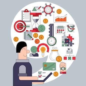 Concept de gestion du temps avec composition d'éléments