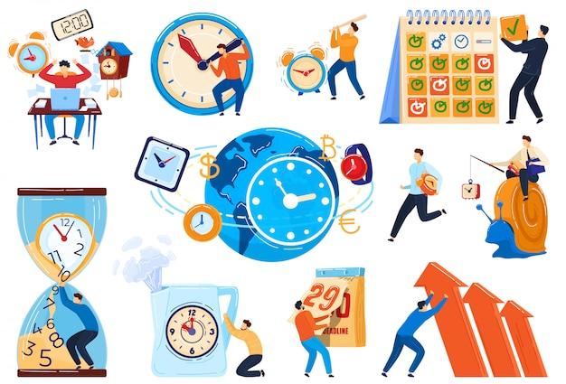 Concept de gestion du temps, délai des gens d'affaires, ensemble de personnages de dessins animés, illustration