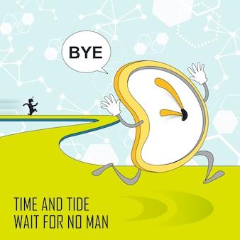 Concept de gestion du temps : horloge s'enfuyant dans le style de ligne