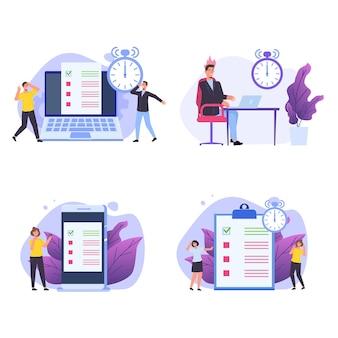 Concept de gestion du temps inefficace. les personnes incapables d'organiser leurs tâches. ensemble de scènes de date limite.