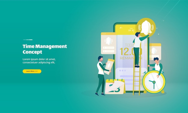 Concept de gestion du temps avec page de destination des cloches de notification