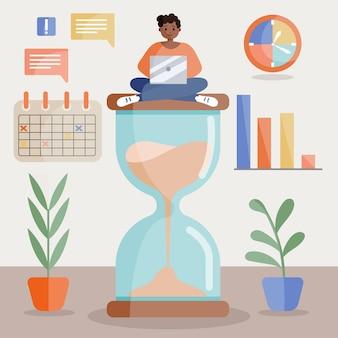 Concept de gestion du temps plat