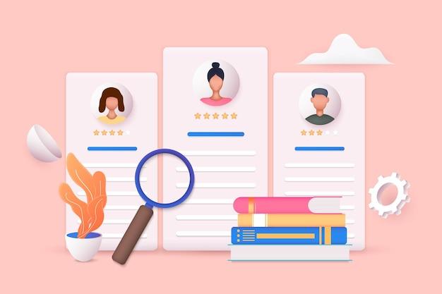 Concept de gestion et d'embauche des ressources humaines. entretien d'embauche, illustration vectorielle de l'agence de recrutement. illustrations vectorielles 3d.