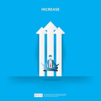 Concept de gestion d'entreprise avec assis et méditant.