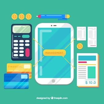 Concept de gestion financière avec conception plate