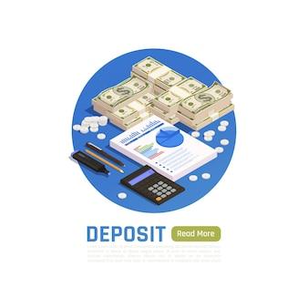 Concept de gestion de patrimoine avec pile de billets en dollars bloc-notes et calculatrice isométrique