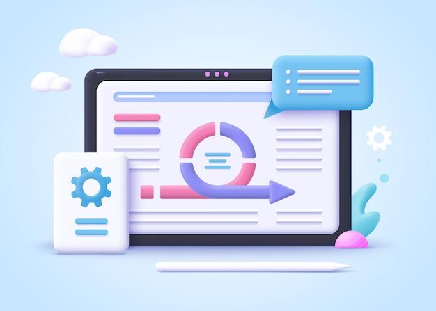 Concept de gestion de projet agile, développement logiciel agile. illustration vectorielle réaliste 3d.