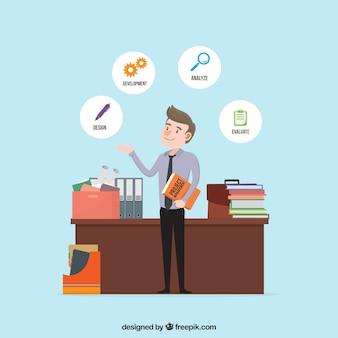 Concept de gestion de projet plat avec bureau