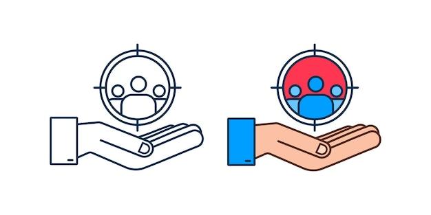 Concept de gestion de la relation client au néon avec les mains organisation des données