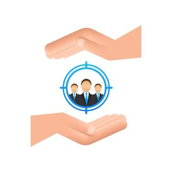 Concept de gestion de la relation client avec les mains organisation des données sur le travail avec les clients