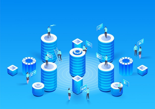 Concept de gestion de réseau de données .vector isométrique