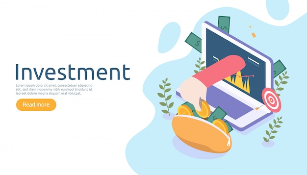 Concept de gestion ou de retour sur investissement. stratégie commerciale en ligne pour l'analyse financière.