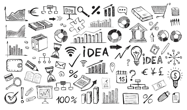 Concept de gestion avec style de conception doodle symboles commerciaux dessinés à la main