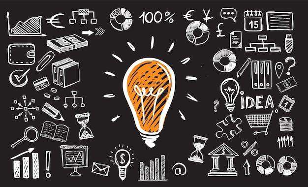 Concept de gestion de symboles commerciaux avec style de conception doodle