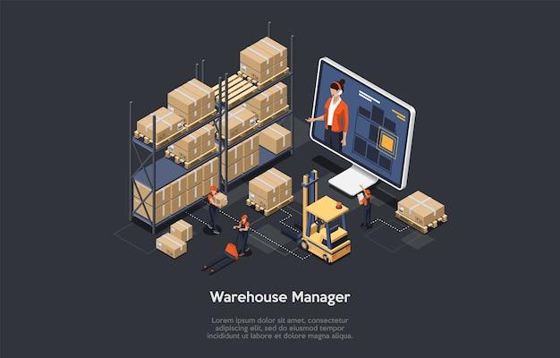 Concept de gestionnaire en ligne d'entrepôt isométrique. le processus de composition de gestion d'entrepôt en ligne, y compris le chargement et le déchargement de la cargaison, le tri des stocks et le stockage. illustration vectorielle.
