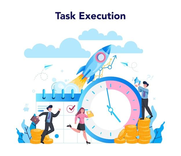 Concept de gestionnaire de superviseur. spécialiste guidant les employés dans leur tâche, coordonnant le travail, organisant des formations professionnelles. processus de travail de contrôle du gestionnaire.