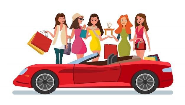 Le concept girlfriends shopping dans le style shop